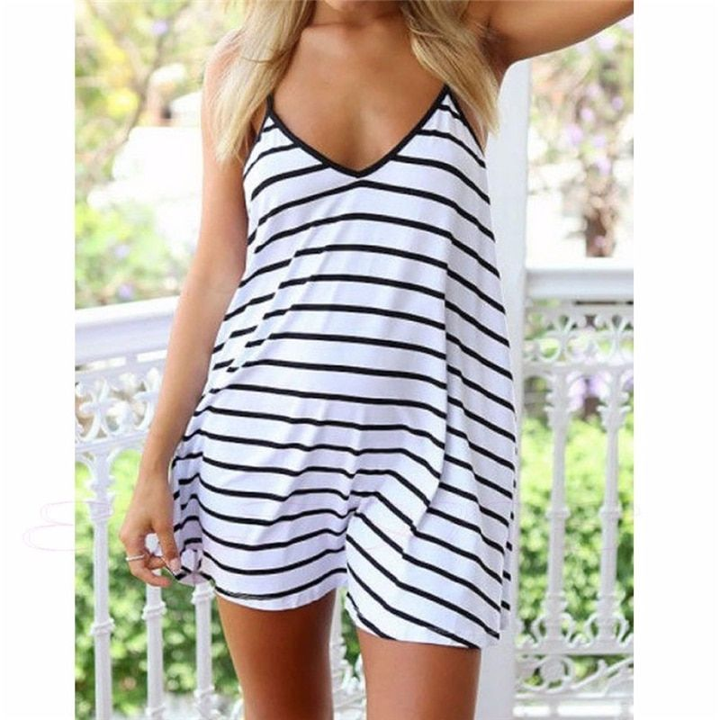 Frauen Sommer Strand Rock 2017 Gestreiften Sexy Strap Sleeveless Short Strand Kleid Plus Size Vertuschen