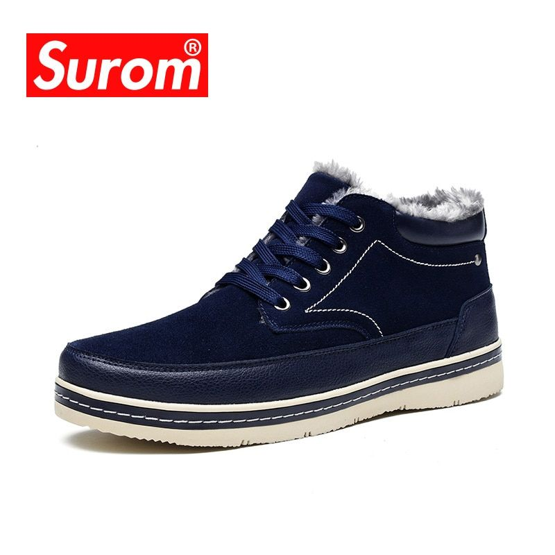SUROM Luxury Brand Fashion Men's Winter Snow Boots Ankle Thick Plush Warm Lace Up Leather Causal Shoes Man