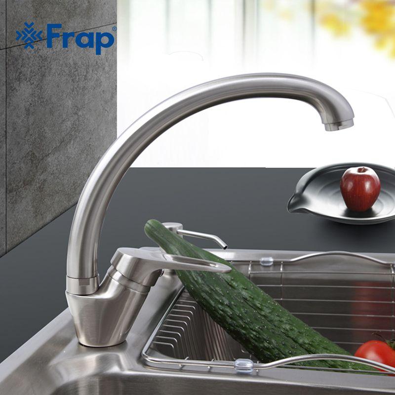 Frap 1 компл. Кухня кран бортике Матовый Никель отделка холодной и горячей воды смеситель 360 градусов Поворотный f4113-5