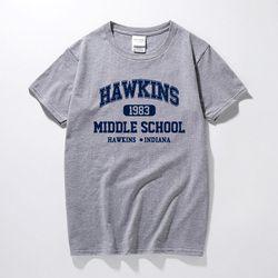 Hal Yang Aneh Hawkins SMA Lengan Panjang Kemeja Tee Tshirts 100% Katun Jersey Lari Gratis Pengiriman