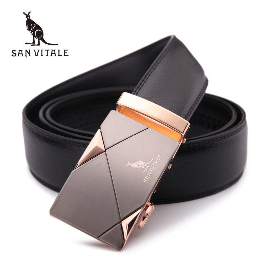 2017 men's belt fashion 100% Genuine Leather mens belts for men High <font><b>quality</b></font> metal automatic buckles Strap male for Jeans cowboy