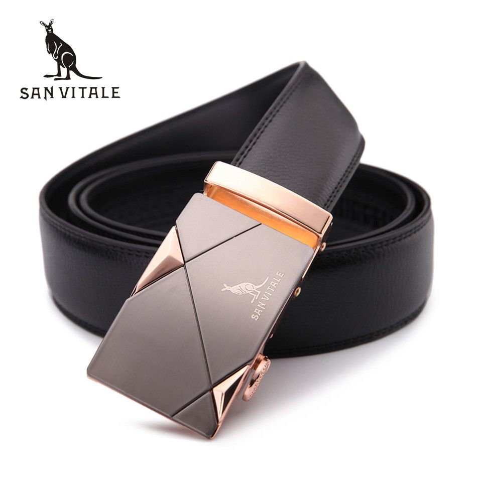 2017 men's belt fashion 100% Genuine Leather mens belts for men High quality <font><b>metal</b></font> automatic buckles Strap male for Jeans cowboy
