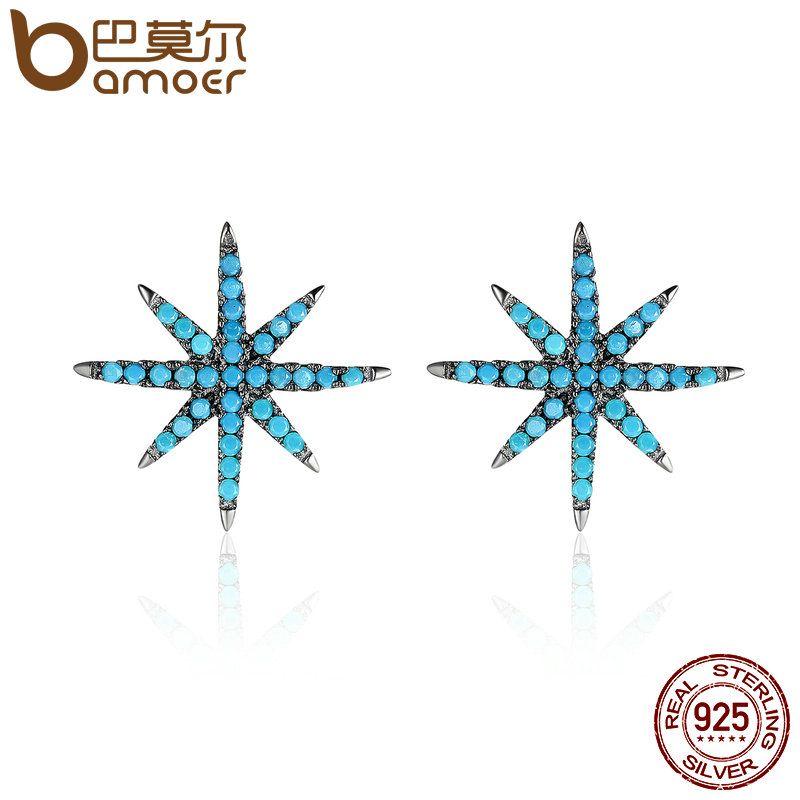 BAMOER Hot Sale 925 Sterling Silver Trendy Sparking Star Elegant Stud Earrings for Women Authentic Silver Jewelry Bijoux SCE172