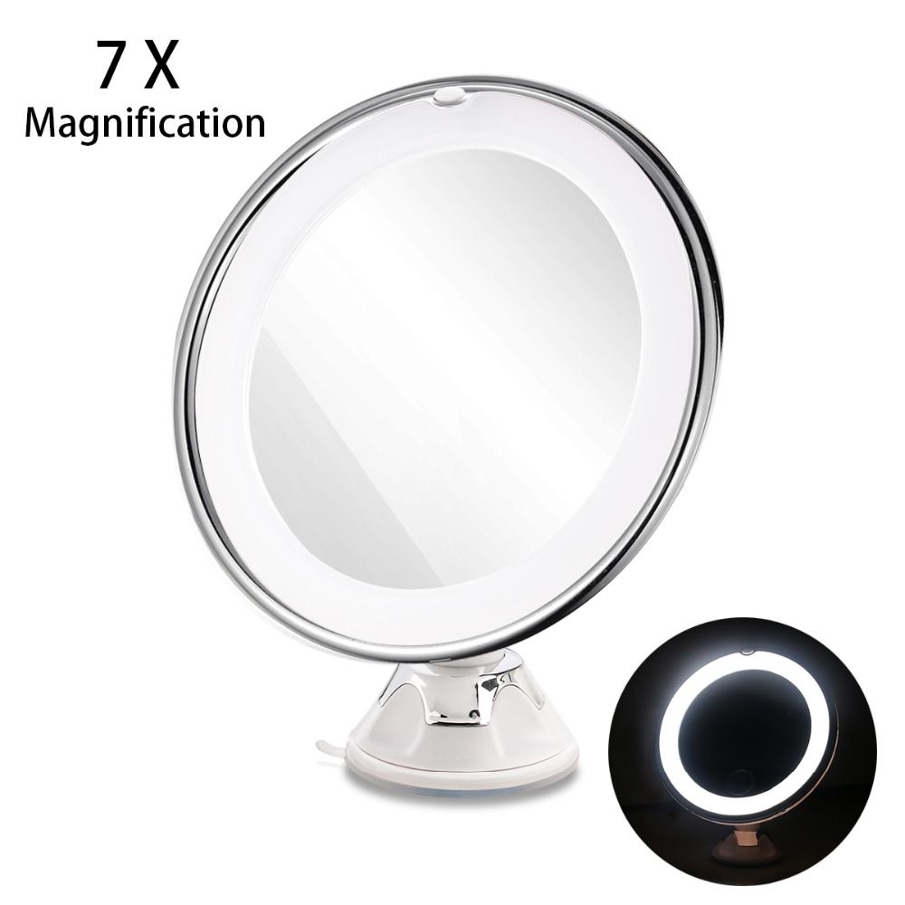 RUIMIO 7X Magnifying Makeup Mirror Cosmetic LED Locking Suction Cup Bright Diffused Light 360 Degree <font><b>Rotating</b></font> Cosmetic Makeup