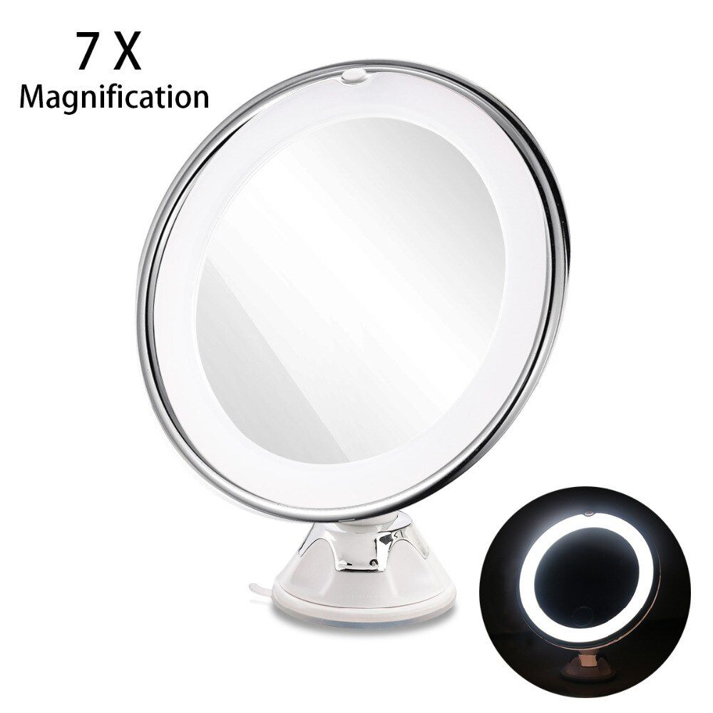 RUIMIO 7X miroir de maquillage grossissant LED cosmétique verrouillage ventouse lumière diffuse lumineuse 360 degrés maquillage cosmétique rotatif