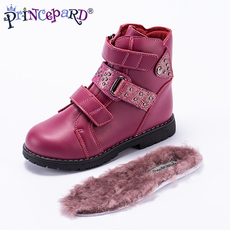 Princepard winter classical orthopedic boots for kids 100% natural fur lining insoles genuine leather upper TPR non-slip sole