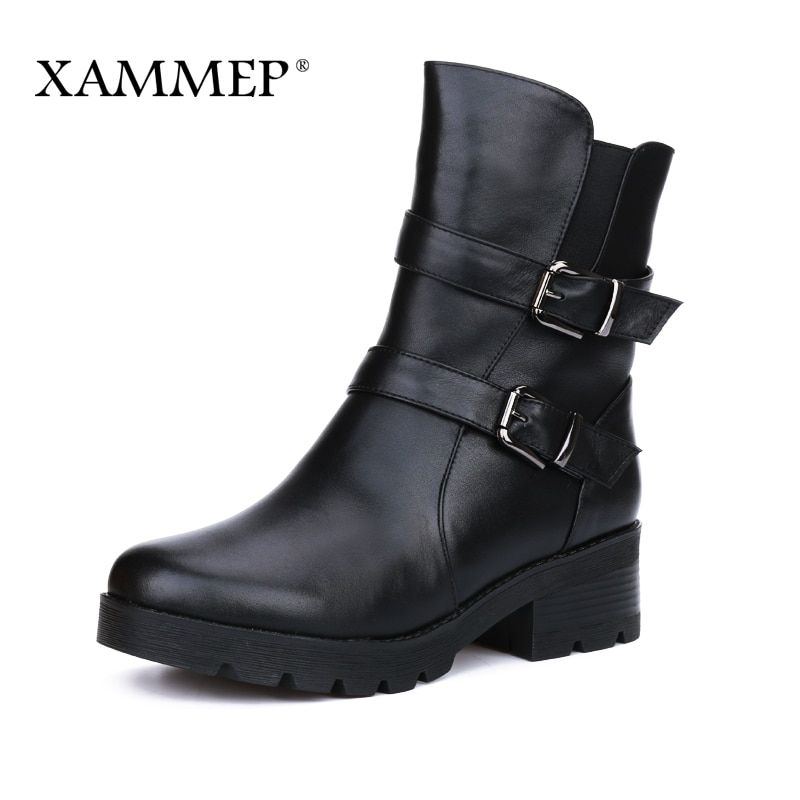 Women Winter Shoes Women Genuine Leather Natural Wool Boots Brand Women Shoes High Quality Mid Calf Boots With Platform Xammep