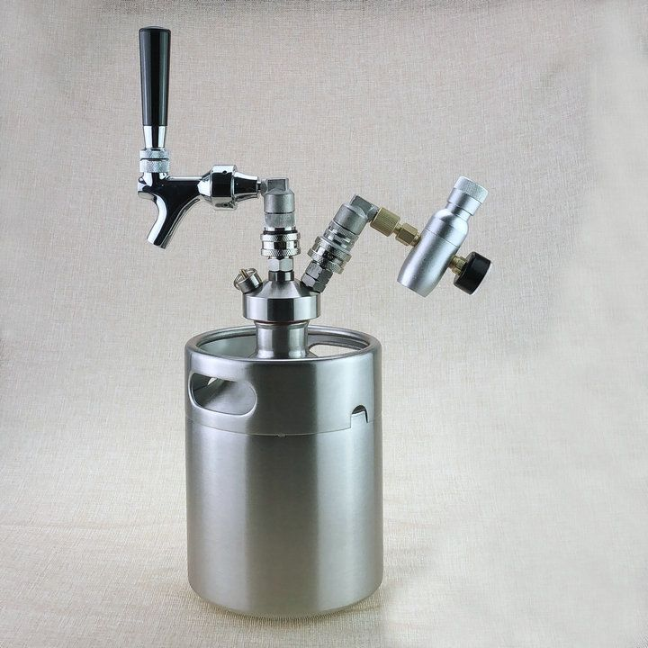 Hot New Home Brewing 5L Mini Beer Keg Growler + Mini Tap Dispenser with Draft beer Faucet + Co2 keg charger kit