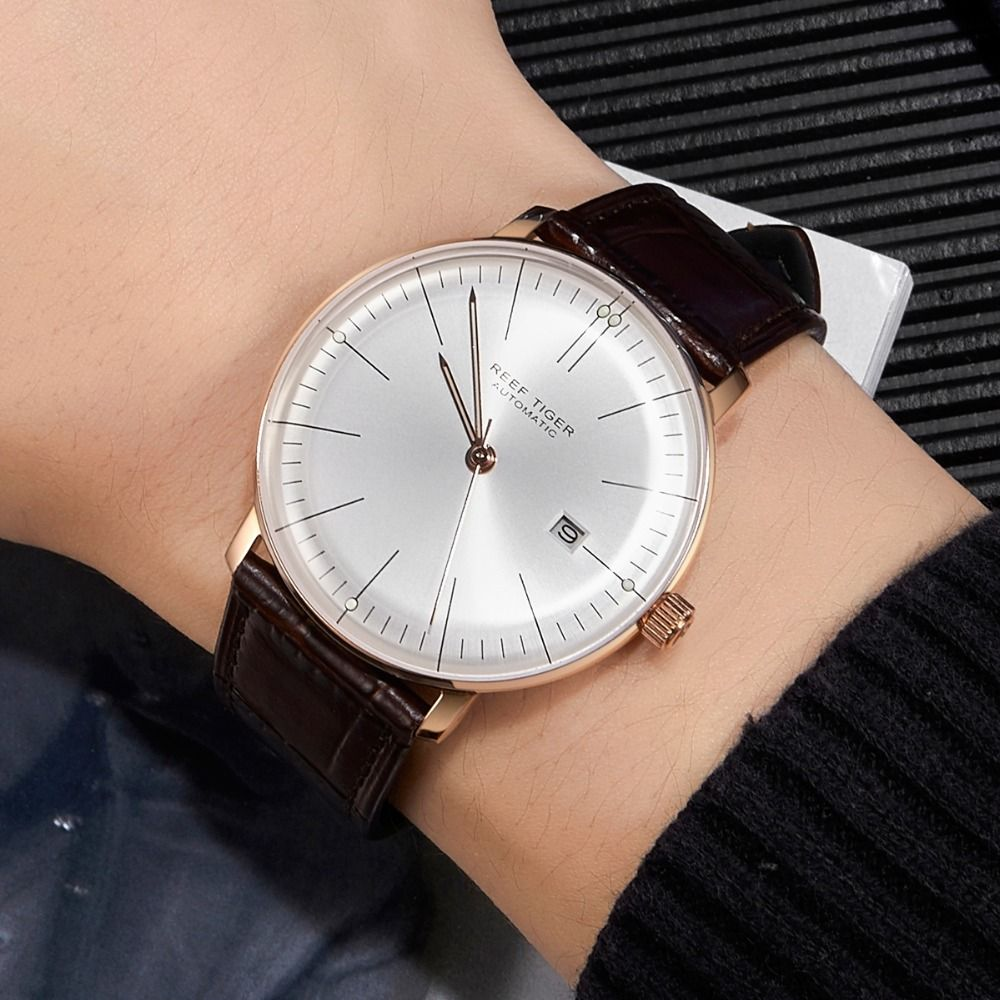 2018 Reef Tiger/RT Top Band Luxury Dress Watch for Men Rose Gold Automatic Watches Brown Leather Strap RGA8215