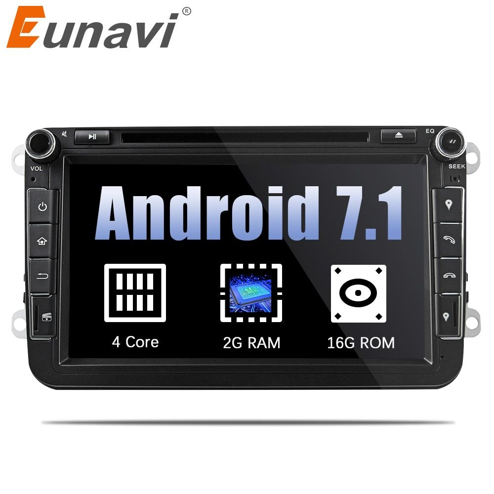 Eunavi 8'' Quad Core 2 Din Android 7.1 Car DVD Player For VW JETTA Tiguan Passat B6 Touran Caddy Amarok Golf EOS GPS Navi Radio