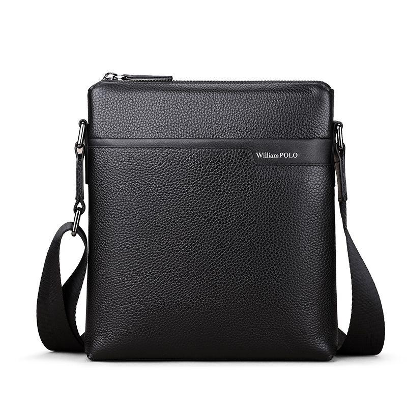 WILLIAMPOLO 2018 Echtem Leder Mann Tasche Umhängetasche Business Taschen Feminina Handtaschen Schwarz Männer Mini Taschen Marke POLO003D