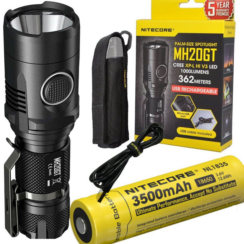 NITECORE MH20GT Rechargeable Flashilght CREE XP-L HI V3 max. 1000LM beam distance 362meter outdoor torch + 18650 3500mAh battery