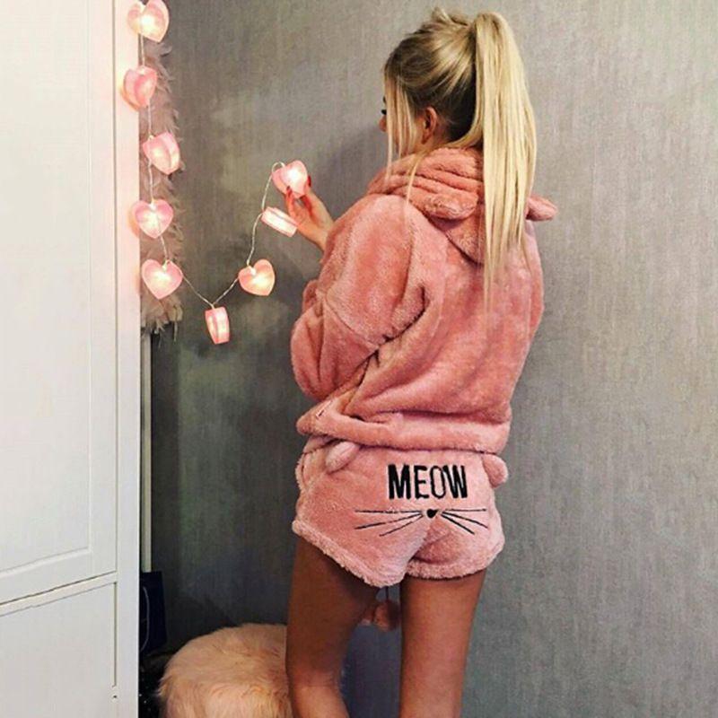 5XL grande taille Pyjama Femmes Ensembles 2018 Automne Hiver Flanelle Pyjamas Femmes Homewear de Nuit Animaux Chat de Bande Dessinée Pyjamas Chauds