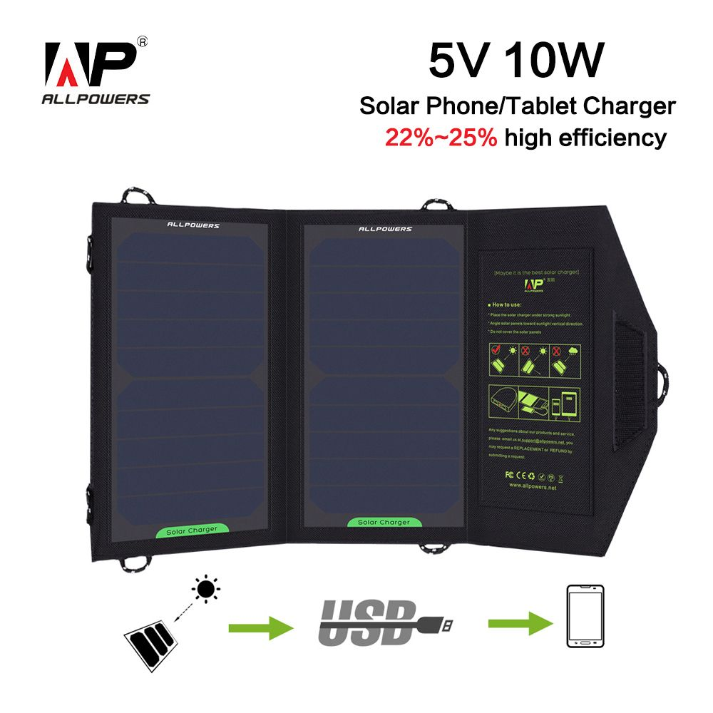 ALLPOWERS Solar Charger 10W 5V 1.6A USB Solar Panel Foldable Waterproof Power Bank for Smartphone