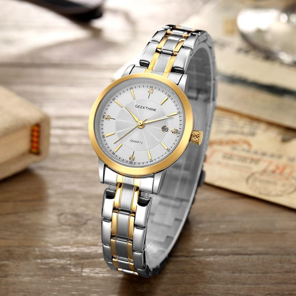 GEEKTHINK Top Luxury Brand Stainless Steel Quartz Watch Women Ladies Wristwatch Classsic Fashion Lover's Gift Female clock NEW