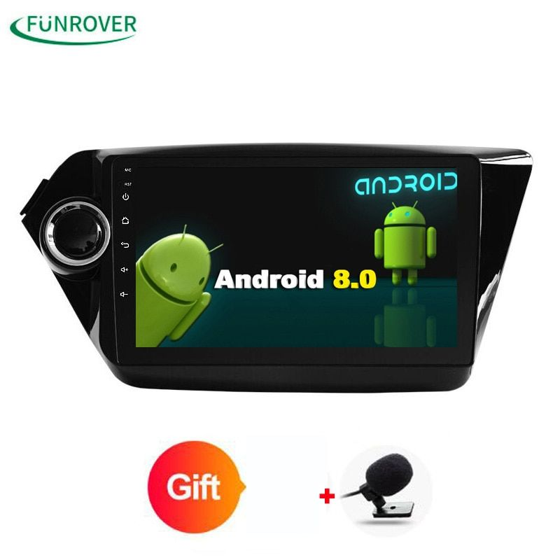 Funrover 2GRAM Android 8.0 Car dvd player gps for Kia rio 2010 2010 in dash dashboard radio video player + Resolution 1024 * 600