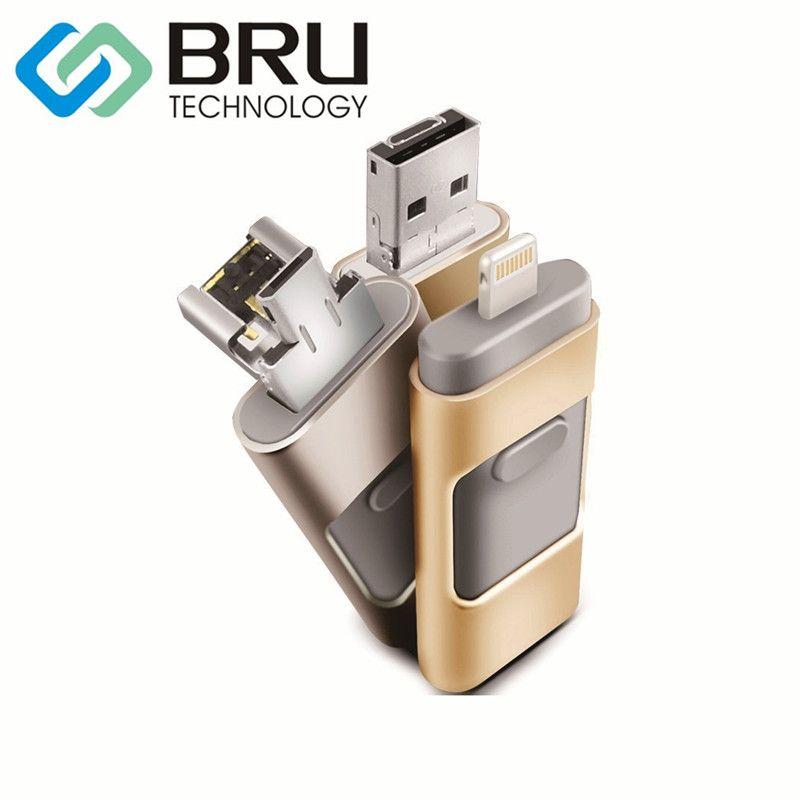 BRU 128GB OTG USB Flash Drive for iPhone 5/5s/5c/6/6Plus/7/8X/ iPad4/Air/Mini/Mini2 Pen Drive OEM Gift Memory Disk Custom Logo