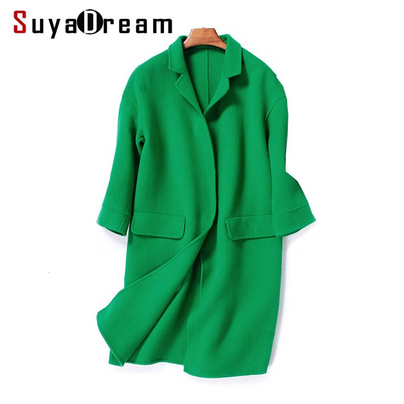 Women Wool Coat 95%Wool 5%Cashmere Solid winter coats Pockets Turn down collar Outer wear 2017 Winter RED PINK GREEN