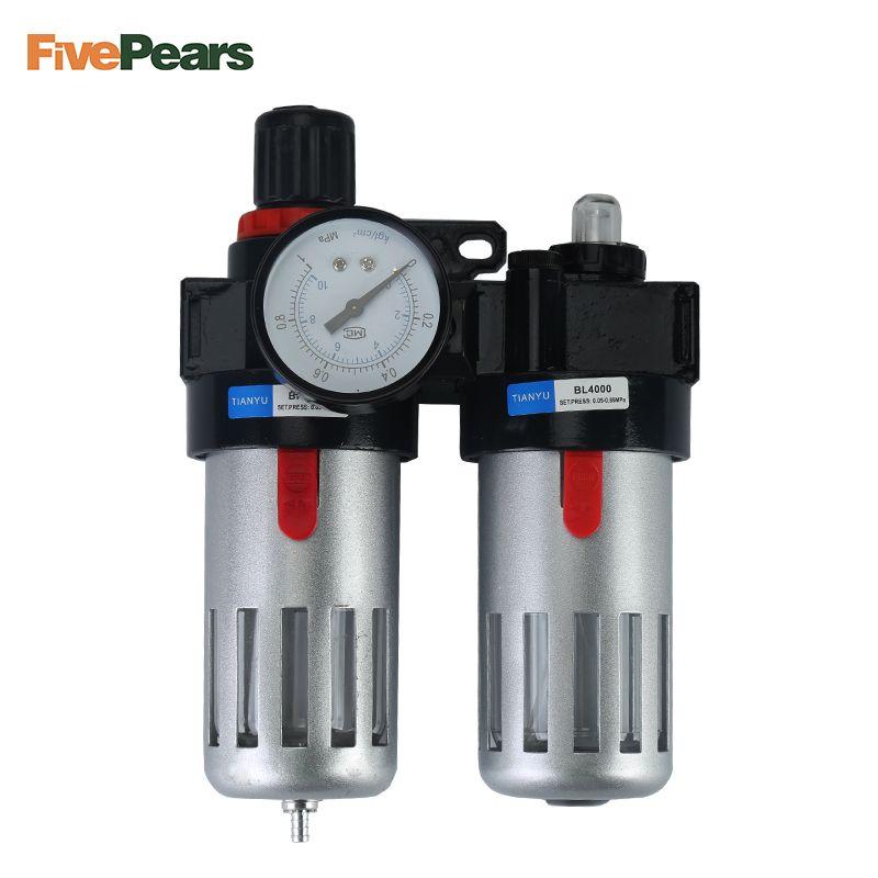 Livraison gratuite 1/2 ''compresseur d'air lubrificateur d'huile humidité piège à eau filtre régulateur avec monture BFC4000 FivePears