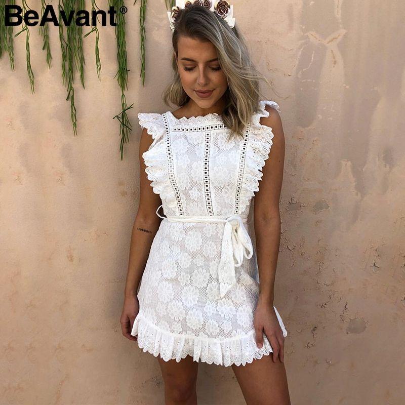 BeAvant Vintage ruffle pinafore white women dress Elegant lace high waist summer dress Embroidery cotton short dress party