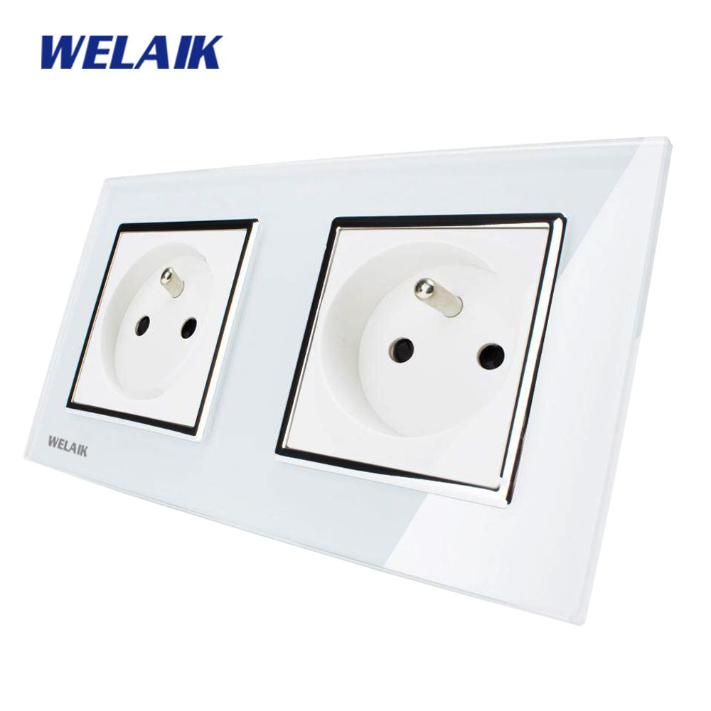 WELAIK Glass Panel EU Wall Socket Wall Outlet White Black French Standard Power Socket AC110~250V A28F8FW/B