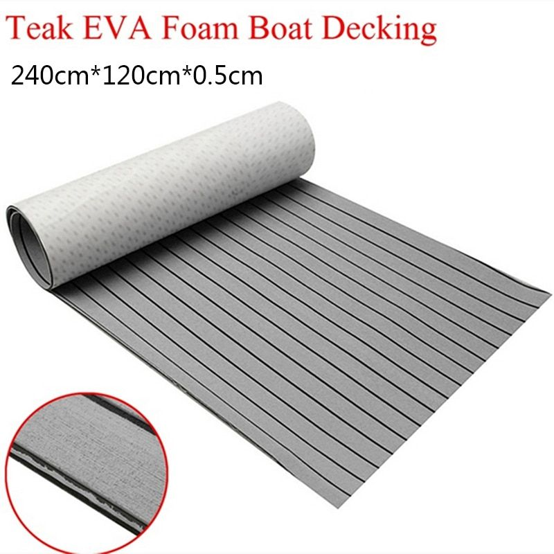 1200mmx2400mm EVA Foam Faux Teak Sheet Boat RV Yacht Synthetic Marine Teak Decking 47 inch x 95 inch 5mm Grey With Black Strip