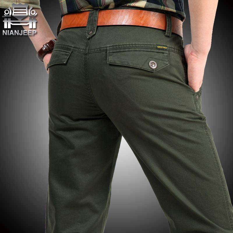 NIANJEEP Pants Pockeets Cotton Full Length Loose Pants Men Khaki Cargo Pants Men Army Male Trousers men's summer 34 36 38 40 42