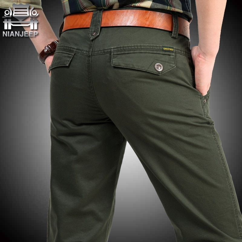 NIANJEEP Pants Pockeets Cotton Full Length Loose Pants Men Khaki Cargo Pants Men Army Male Trousers men's summer 34 36 38 40 42
