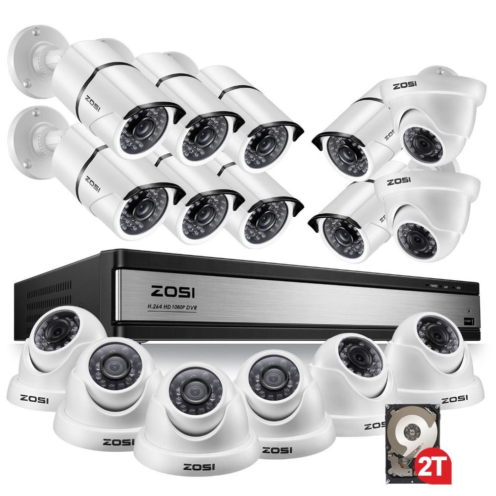 ZOSI 1080p 16CH Video Überwachung System mit 16 stücke 2.0MP Nachtsicht Outdoor/Indoor Hause Sicherheit Kameras 16CH CCTV DVR Kit