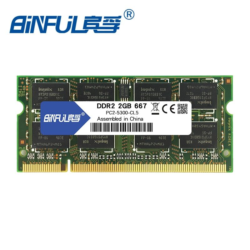 Binful Original DDR2 2 GB 667 MHZ ram PC2-5300 200 broches mémoire module SODIMM Ram Memoria pour ordinateur portable