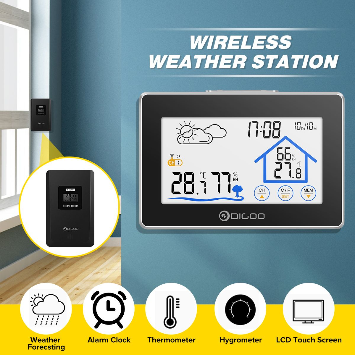 Digoo DG-TH8380 Touch Weather Station + Outdoor Forecast Sensor 3CH Backlit Thermometer Hygrometer Calendar Alarm Clock