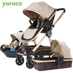 Luxury Baby Stroller 3 in 1 With Car Seat High Landscape Baby Prams For Newborns European Travel System Baby Carriage Foldable