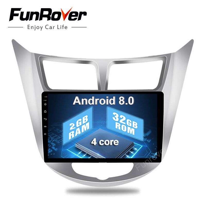 2018 Funrover 2g+32g Android8.0 Car radio dvd tape recorder Gps 9 Inch For Hyundai Solaris Verna i25 Radio Video Navigation 2din