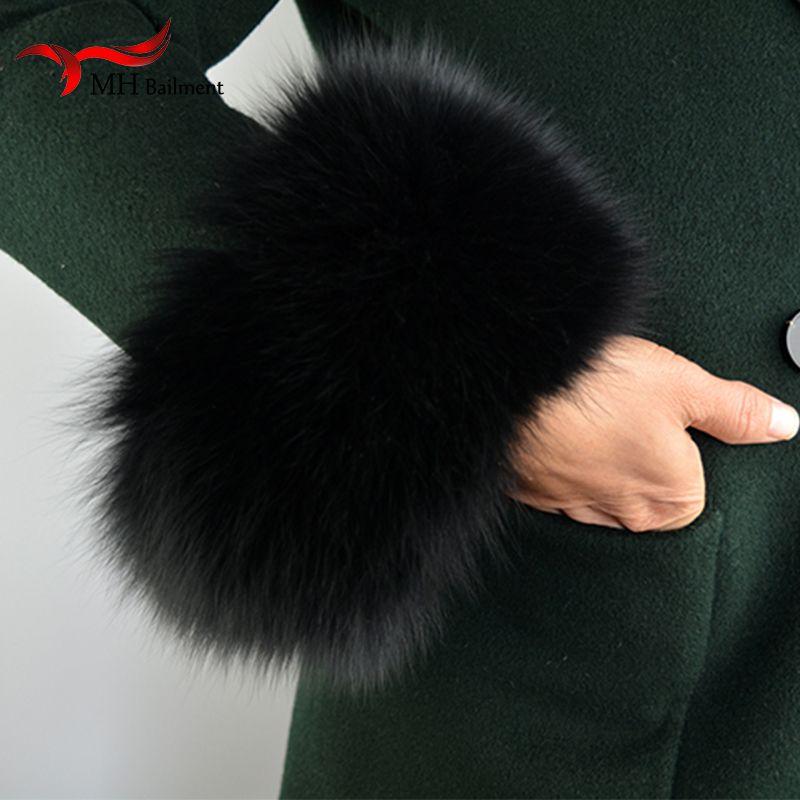 Fox fur Cuffs 2018 Genuine Fox Fur Cuff Arm Warmer Lady Bracelet Real Fur Wristband Glove S9
