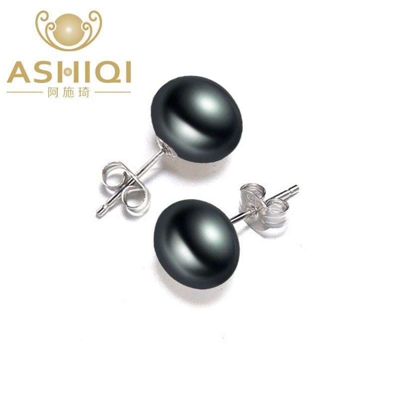ASHIQI Real Negro Perlas de Agua Dulce, 925 pendientes de plata de ley Para Las Mujeres regalo de La Joyería