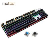 Metoo Teclado mecánico 87/104 Anti-ghosting luminoso azul negro interruptor LED Backlit wired Gaming teclado ruso pegatinas