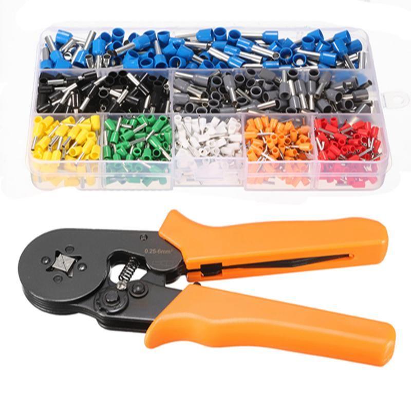 800Pcs Connector Terminal Kit Set With 175m Adjustable Ratcheting Ferrule Crimper Plier Crimping Tool