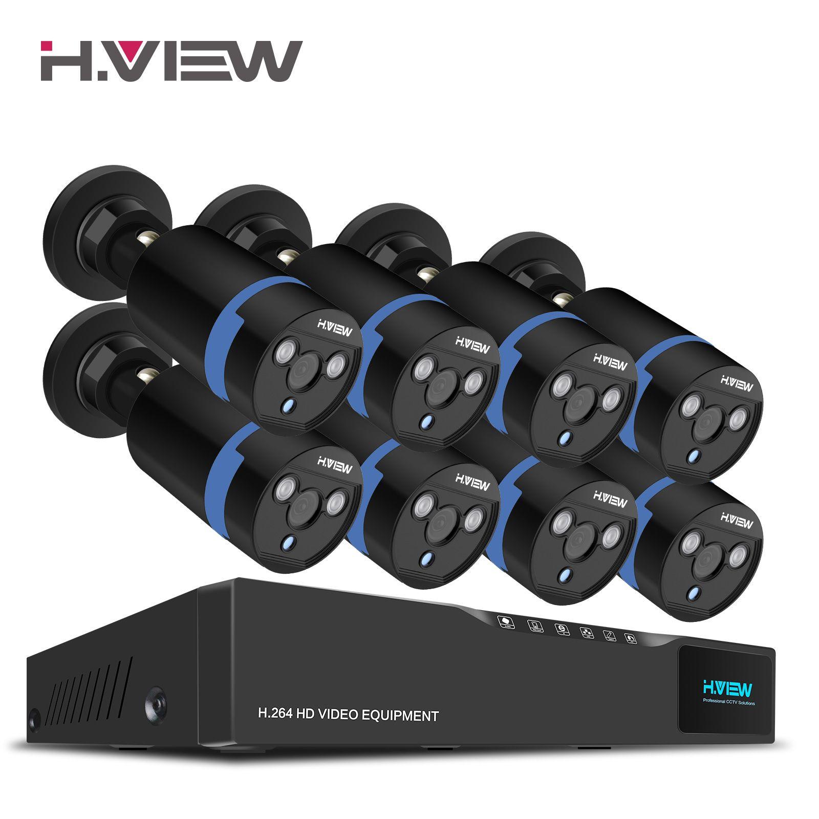 H. Ansicht 16CH Überwachung System 8 1080 P Outdoor-überwachungskamera 16CH CCTV DVR Kit Videoüberwachung iPhone Android Remote View