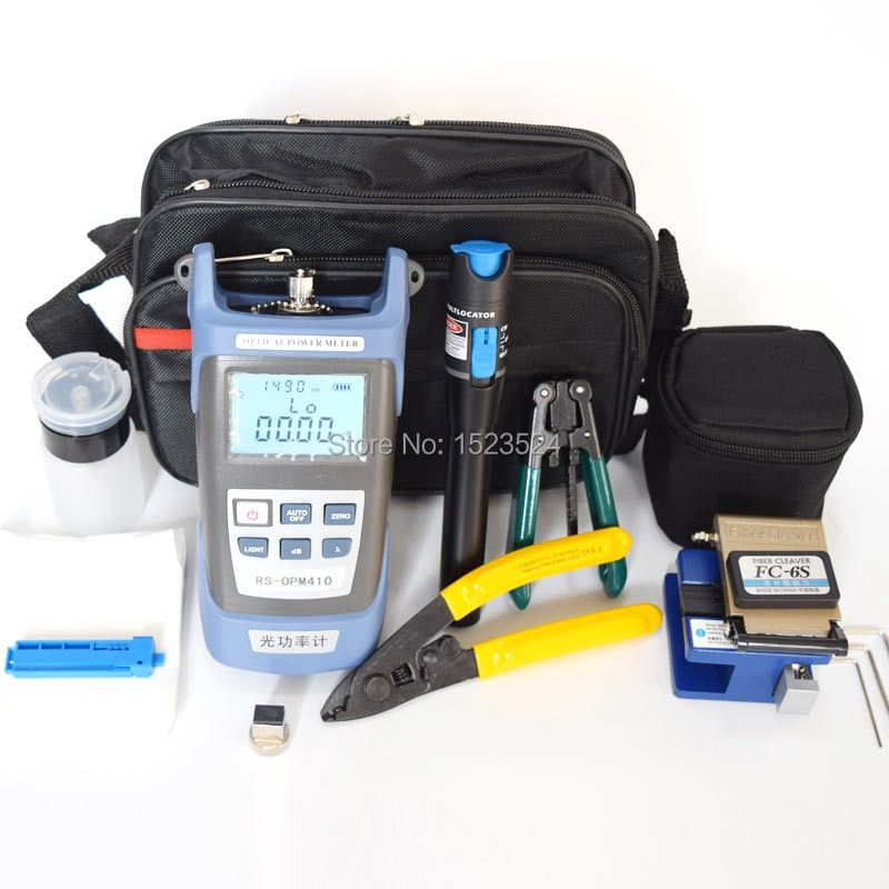 12pcs/set FTTH Fiber Optic Tool Kit with Fiber Cleaver -70~+10dBm Optical Power Meter Visual Fault Lcator 5km
