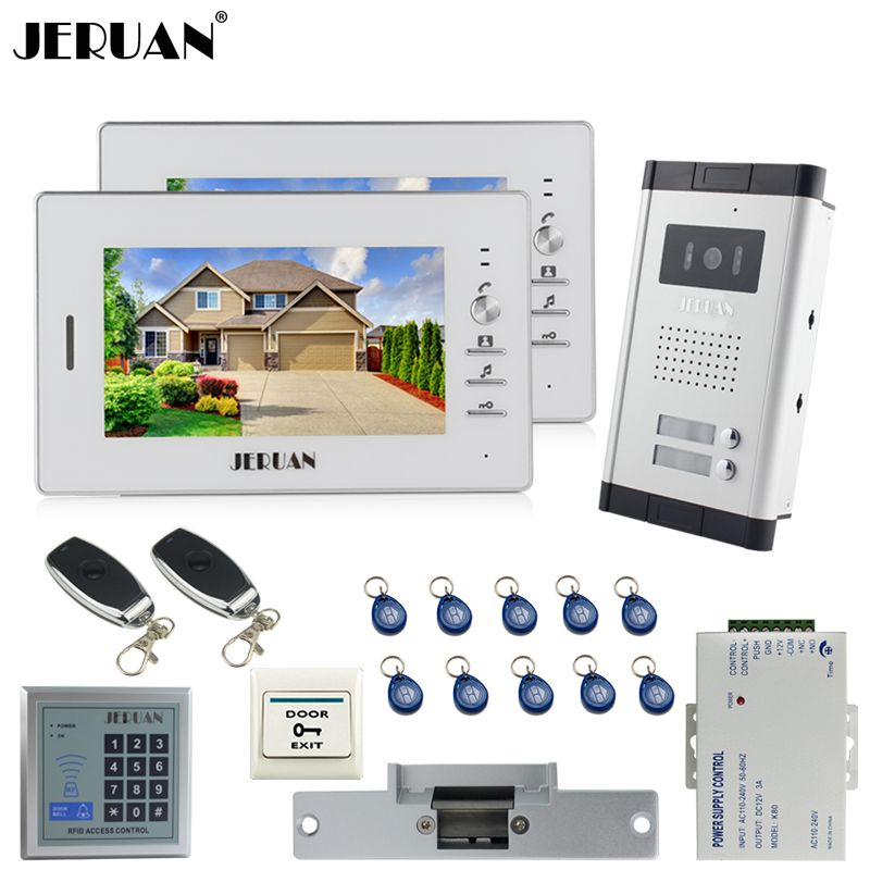 JERUAN 7`` LCD video door phone 2 white Monitor 1 HD Camera Apartment 1V2 Doorbell+RFID Access Control+FREE SHIPPING