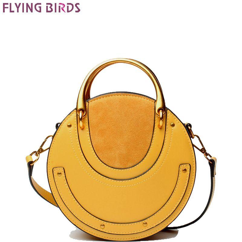 FLYING BIRDS Genuine Leather bag famous brands Women's handbag Designer Vintage metal leather bags bun rivet single shoulder bag