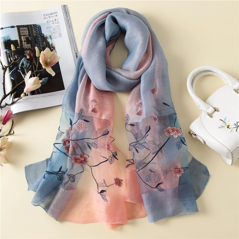 2018 luxury women scarf large size silk scarves shawl and wraps high quality embroidery bandana foulard female