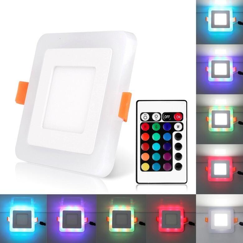 Ultra Slim 6/9/18/24W Dual Color RGB LED Panel Light Concealed Cool White Lamp Square Ceiling Light AC 100-265V