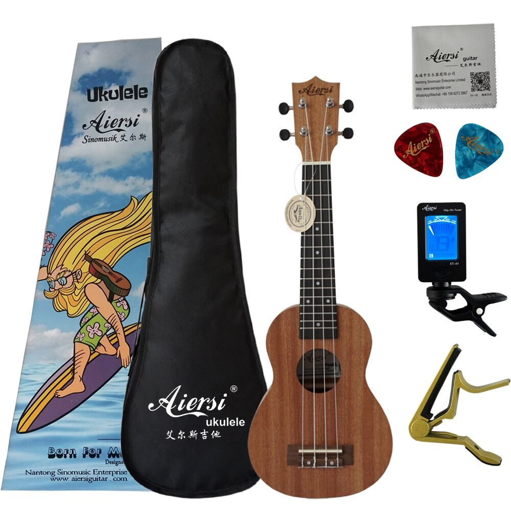 2019 New Color Box Pack Aiersi Brand 21 Inch mahogany Soprano Ukulele High quality Ukelele