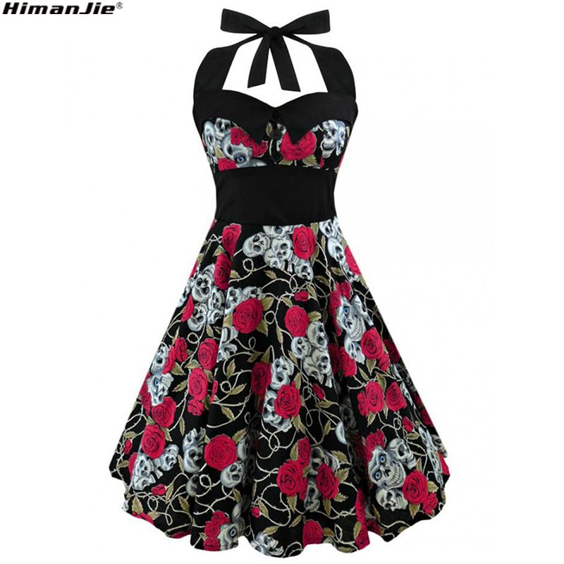 HimanJie <font><b>Retro</b></font> Vintage Style Sleeveless 3D Skull Floral Printed 2017 Summer Women Dress Halter Plus Size Party Sexy Casual Dress
