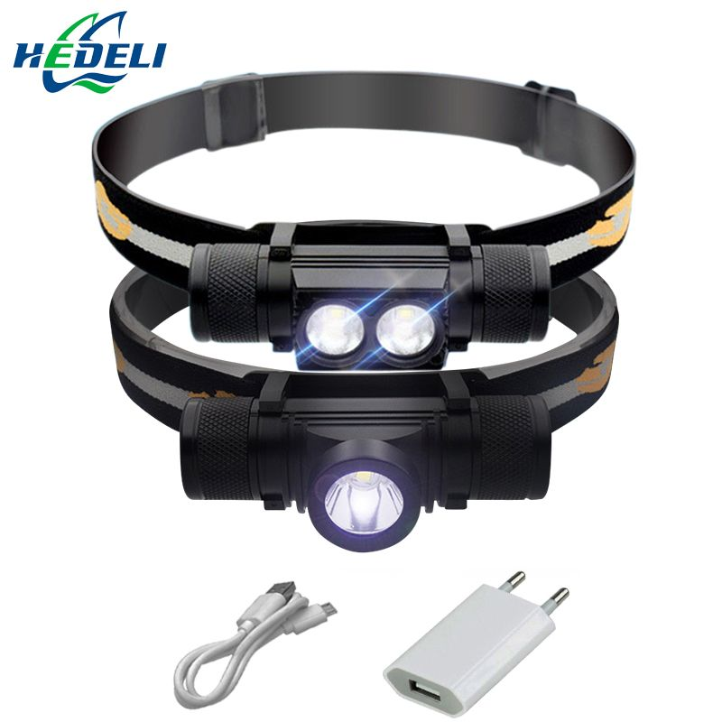 led headlamp USB cree xm l2 headlight waterproof  Head flashlight torch led head light 18650 rechargeable battery camping light