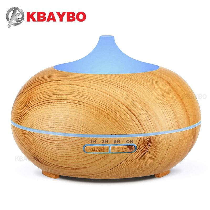 300ml Aroma Essential Oil Diffuser Wood Grain Ultrasonic Cool Mist Humidifier for Office Home Bedroom Living Room Study Yoga Spa
