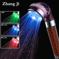 Zhang Ji SPA 3 colores LED cabeza de ducha Sensor de temperatura de la luz de flujo de agua de generador de la cabeza de ducha de ahorro de agua de baño accesorio