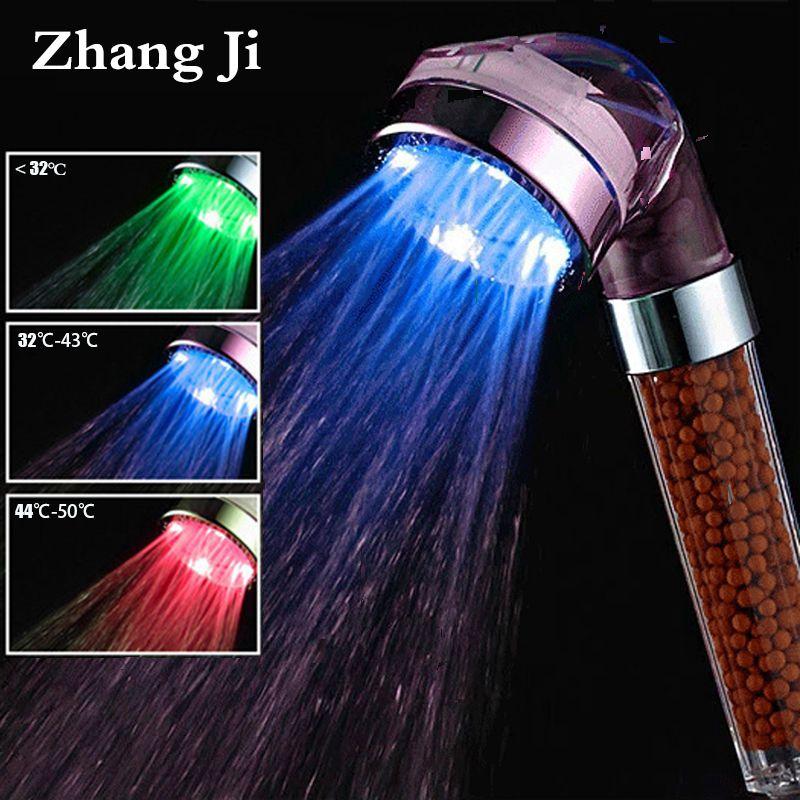 Zhang Ji SPA 3 couleurs LED pomme de douche capteur de température lumière générateur de débit d'eau pomme de douche économie d'eau filtre bain luminaire