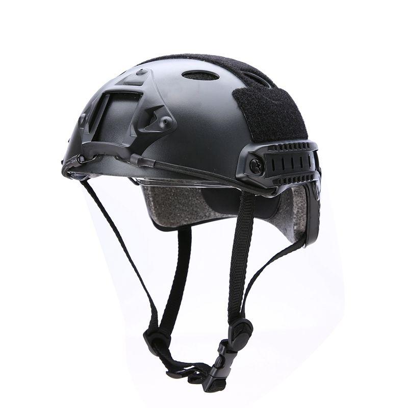 Nouveau 2 couleurs casque avec lunettes de protection militaire tactique Airsoft Paintball extérieur chasse Crashproof casque marron/noir